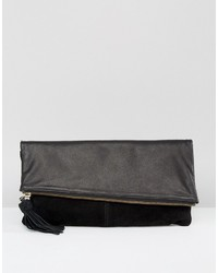 Asos Leather And Suede Slanted Foldover Clutch Bag