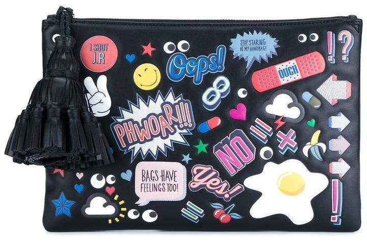 Anya Hindmarch Leather Sticker Clutch Bag