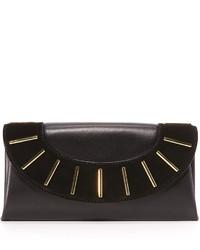 Diane von Furstenberg Leather Suede Bar Stud Envelope Clutch