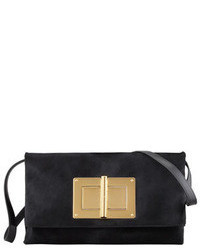 Tom Ford Natalia Soft Calf Hair Turn Lock Clutch Bag Black