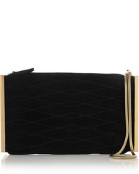 Lanvin Private Quilted Suede Clutch