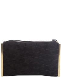 Lanvin Red Quilted Suede Goldtone Side Bar Private Clutch