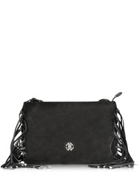 Roberto Cavalli Regina Leather And Suede Fringe Minibag