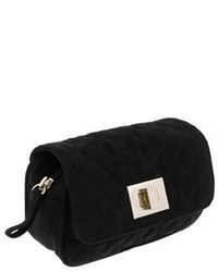 Scheilan Black Suede Quilted Boxy Crossbody Bag