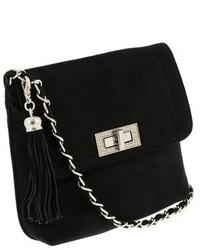Scheilan Black Suede Tassle Clutchshoulder Bag
