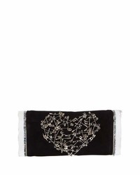 Edie Parker Soft Lara Heart Pin Clutch Bag Black