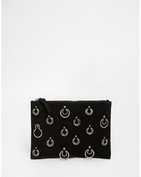 Asos Suede Clutch Bag With Metal Trim