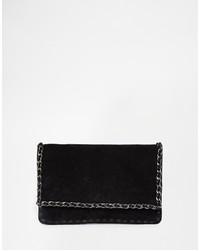 Vero Moda Suede Clutch With Chain Trim