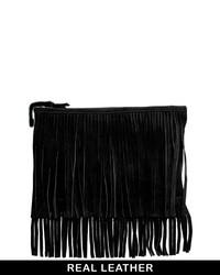 Asos Suede Fringe Clutch Bag Black