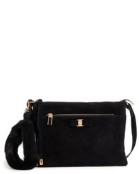 Salvatore Ferragamo Suede Genuine Mink Fur Clutch Black