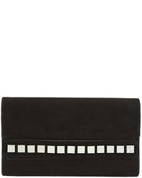 Tomasini Studded Suede Flap Bag Black