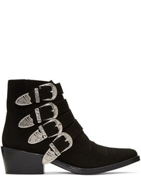 Toga Pulla Black Suede Western Buckle Boots