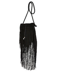 River Island Black Suede Fringed Cross Body Bag
