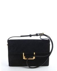 Saint Laurent Black Suede Lulu Shoulder Bag