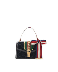 Gucci Black Sylvie Gg Velvet Small Shoulder Bag