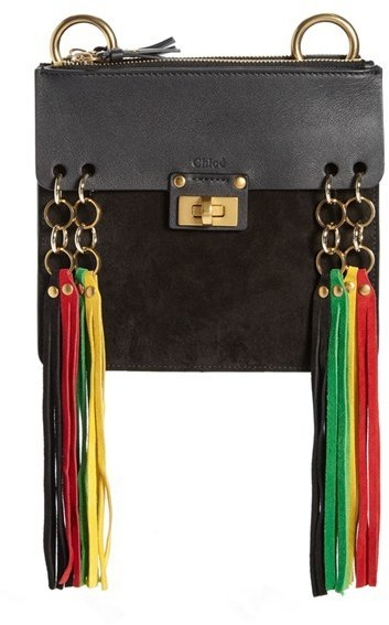 e463c3fcf2 $1,290, Chloé Chloe Small Jane Suede Fringe Leather Crossbody Bag Black