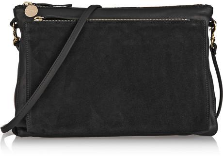 Clare Vivier V Gosee Washed Leather And Suede Shoulder Bag