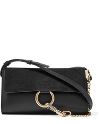 Chloé Faye Mini Leather And Suede Shoulder Bag Black