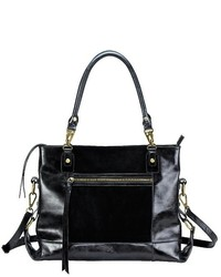 Mofe Eunoia Distressed Leather And Suede Paneled Shoulder Bag With Adjustable Crossbody Capable Strap