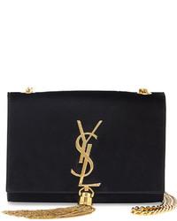 Saint Laurent Monogramme Small Suede Tassel Crossbody Bag Black