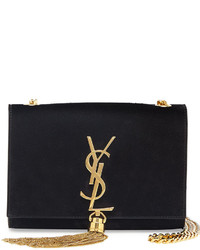 Saint Laurent Monogramme Small Suede Tassel Crossbody Bag Black