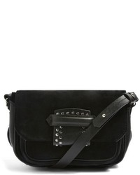 Topshop Premium Leather Suede Crossbody Bag Black
