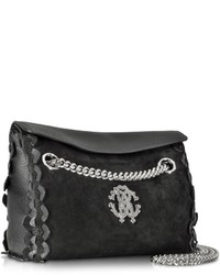Roberto Cavalli Regina Black Leather And Suede Medium Flap Shoulder Bag