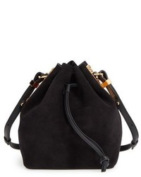 Sophie Hulme Small Nelson Suede Drawstring Crossbody Bag Black