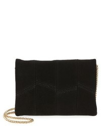 Street Level Suede Faux Leather Crossbody Bag Black