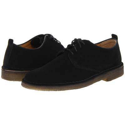 Clarks Desert London Lace Up Casual Shoes Black Suede