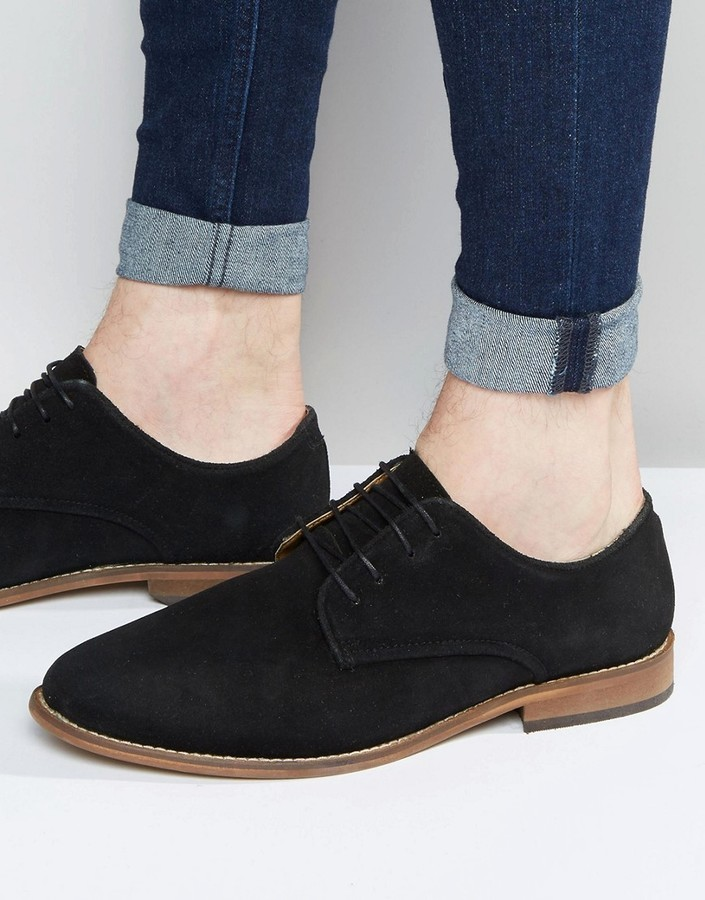 f7d85500ef28f ... Asos Derby Shoes In Black Suede With Natural Sole ...