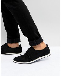 Pier One Suede Lace Ups In Black With Wedge Sole