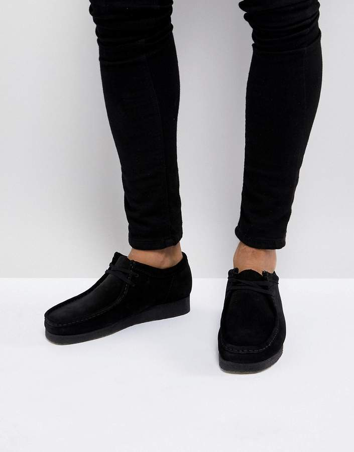 CLARKS ORIGINALS WALLABEE MENS BLACK SUEDE SHOES