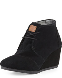Toms Suede Desert Wedge Boot Black