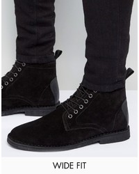 Asos Wide Fit Desert Boots In Black Suede With Leather Detail