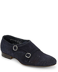 Santoni Double Monk Strap Perforated Suede Dress Shoes