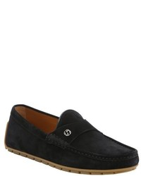 Gucci Black Suede Queen Moc Toe Driving Loafers