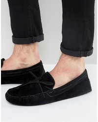 Asos Driving Shoes In Black Faux Suede With Tie Front