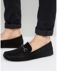 Asos Driving Shoes In Black Suede With Snaffle