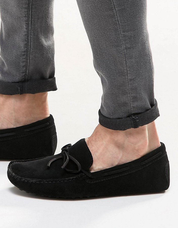 900ddb0d1527 ... Asos Driving Shoes In Black Suede With Tie Front ...