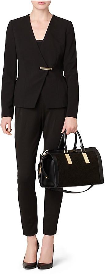 5ad9f8e558 Calvin Klein Brynn Suede Faux Leather Duffle Satchel, $199 | Calvin Klein |  Lookastic.com