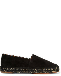 Chloé Lauren Scalloped Suede Espadrilles Black