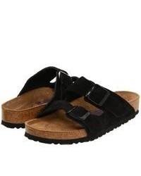 Black Suede Flat Sandals