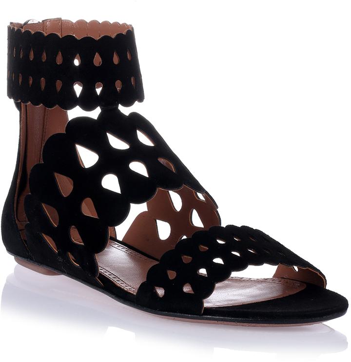 5092066a4d65 ... Alaia Alaa Black Suede Cut Out Flat Sandal ...