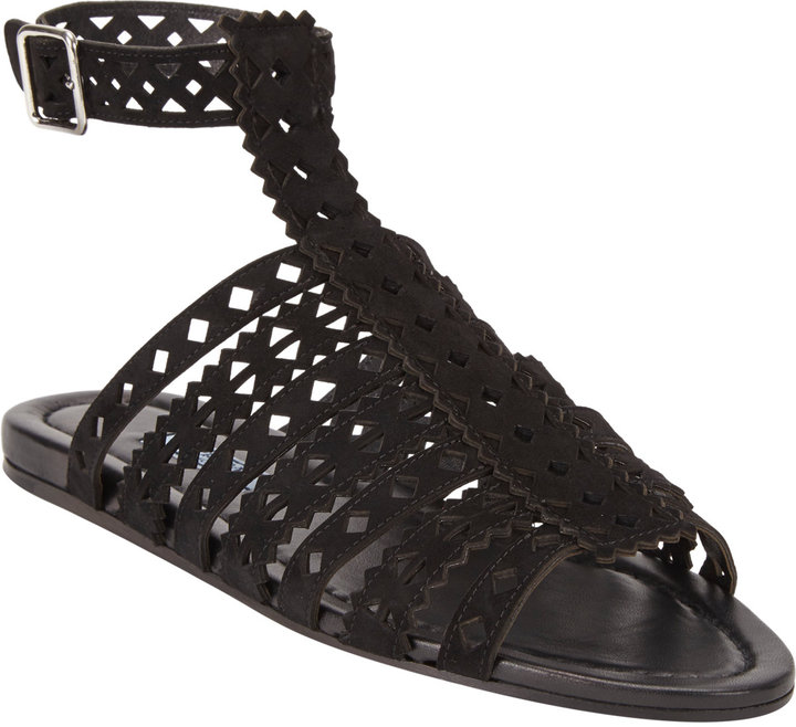 080e8954215 ... Black Suede Flat Sandals Prada Cutout Leather Flat Gladiator Sandals ...