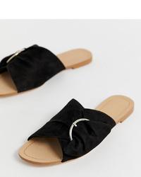 Stradivarius Side Slip On Sandals In Black