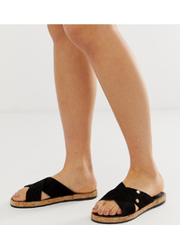 River Island Suede Sandals With Cross In Black
