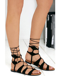 LuLu*s Trail Ways Black Suede Flat Lace Up Sandals