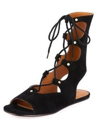 Chloe suede mid calf gladiator sandal nero medium 5054587