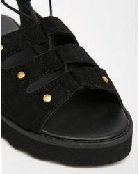 f91e82b9d3b ... Park Lane Chunky Gladiator Suede Flat Sandals ...